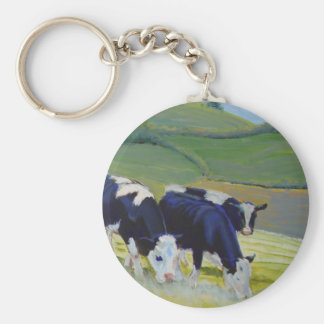 Painting of black and white holstein friesian cows basic round button keychain