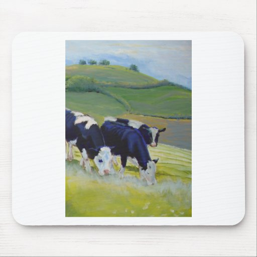 Painting of black and white holstein friesian cows mouse pad