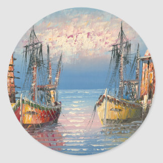 Painting Of Boats Tied To A Marina Classic Round Sticker