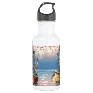 Painting Of Boats Tied To A Marina 18oz Water Bottle