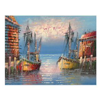 Painting Of Boats Tied To A Marina Postcard