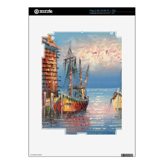 Painting Of Boats Tied To A Marina iPad 2 Decal