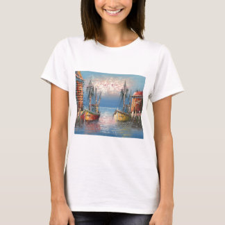 Painting Of Boats Tied To A Marina T-Shirt
