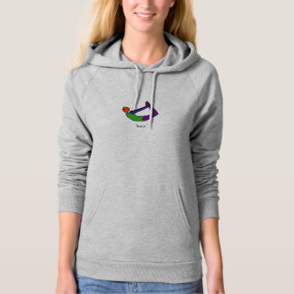 Painting of bow yoga pose with Sanskrit text. Hoodie