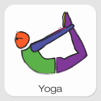 Painting of bow yoga pose with yoga text. square sticker