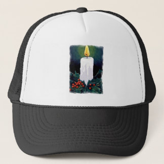 Painting of Candle and Holly: Christmas Trucker Hat