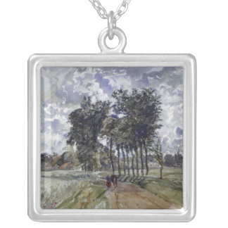 Painting of Countryside Silver Plated Necklace