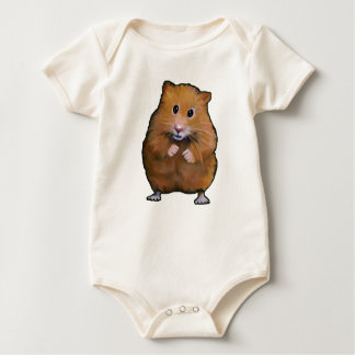 Painting of Cute Furry Little Hamster Baby Bodysuit