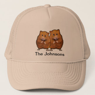 Painting of CUTE HAMSTER COUPLE: Personalize Trucker Hat