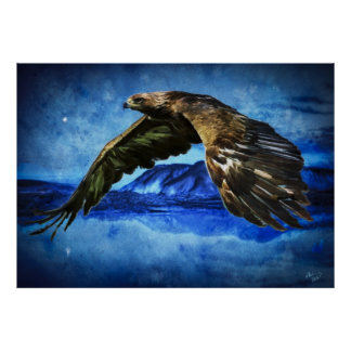 Painting of eagle flying over lakes and mountains poster