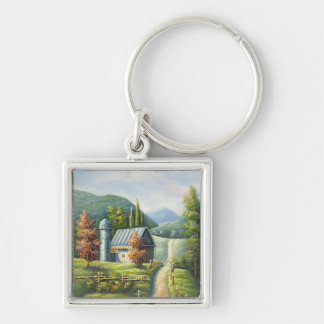Painting Of Farm Country Dirt Road In Late Summer Keychain