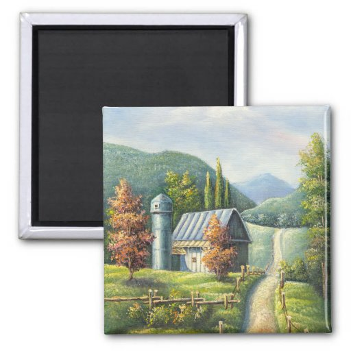 Painting Of Farm Country Dirt Road In Late Summer Fridge Magnets