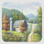 Painting Of Farm Country Dirt Road In Late Summer Sticker