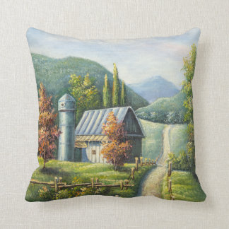 Painting Of Farm Country Dirt Road In Late Summer Throw Pillow