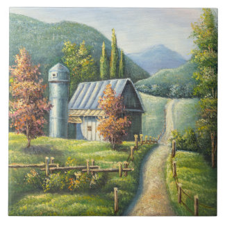 Painting Of Farm Country Dirt Road In Late Summer Tile