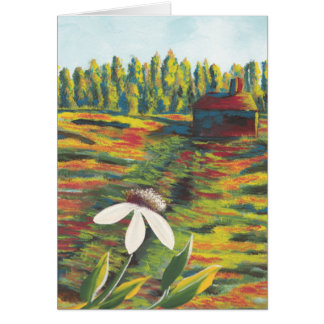 Painting of Flower Meadow & Shack Card