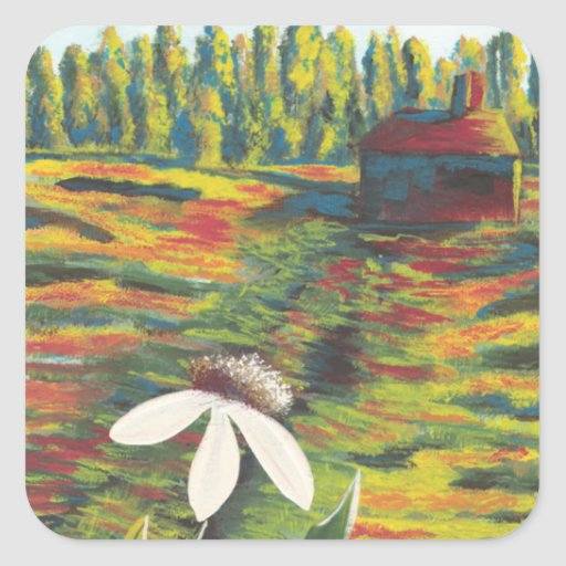 Painting of Flower Meadow & Shack Stickers