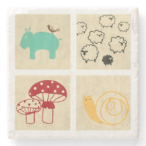 Painting of Four Children's Wood Blocks Stone Coaster