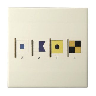 Painting of Four Flags with Sail Written Beneath Ceramic Tile