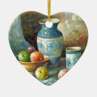 Painting Of Fruit And Pottery Vessels Ceramic Ornament