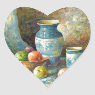 Painting Of Fruit And Pottery Vessels Heart Sticker