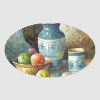 Painting Of Fruit And Pottery Vessels Oval Sticker