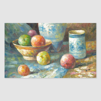 Painting Of Fruit And Pottery Vessels Rectangular Sticker