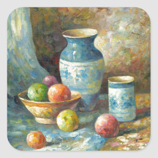 Painting Of Fruit And Pottery Vessels Square Sticker