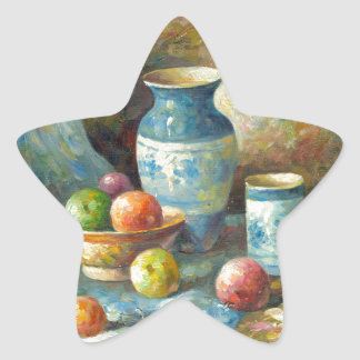 Painting Of Fruit And Pottery Vessels Star Sticker