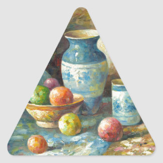Painting Of Fruit And Pottery Vessels Triangle Sticker