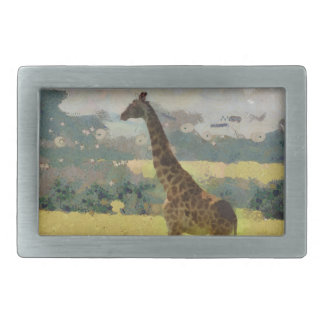 Painting of Giraffe on the Savannah in Africa Belt Buckle