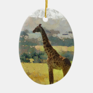 Painting of Giraffe on the Savannah in Africa Christmas Tree Ornaments
