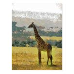 Painting of Giraffe on the Savannah in Africa Postcard