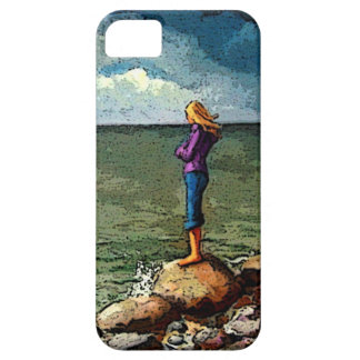 Painting of Girl Standing on Rocks By Ocean iPhone 5 Covers