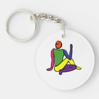 Painting of half lord of the fishes yoga pose. keychain