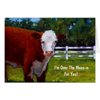 Painting of Hereford Beef: Over The Moon For You Card