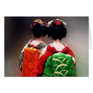Painting of Japanese Maiko Greeting Cards