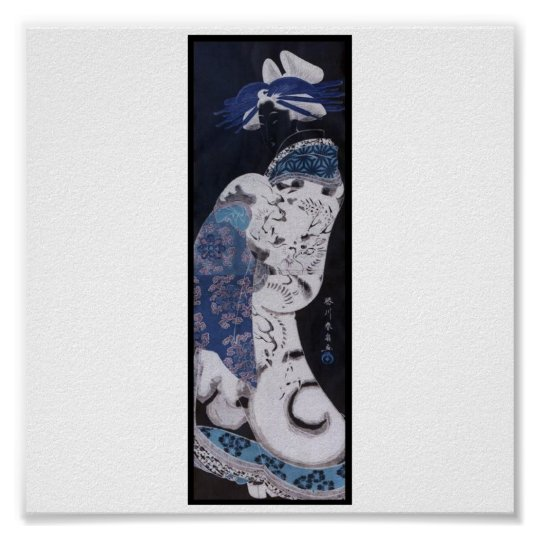 Painting of Japanese Woman with Dragon Kimono Poster