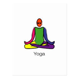 Painting of lotus yoga pose with yoga text. postcard