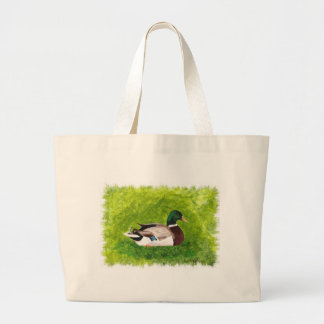 Painting of Mallard Duck sitting in the grass Bag