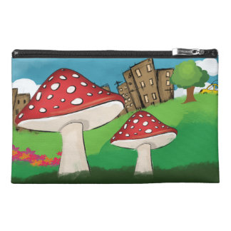 Painting of mushrooms in the park near the city travel accessory bag
