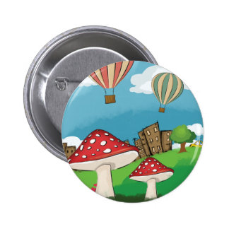 Painting of mushrooms in the park near the city pinback buttons