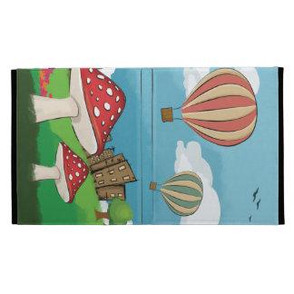 Painting of mushrooms in the park near the city iPad folio case