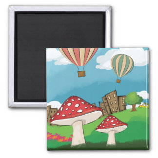 Painting of mushrooms in the park near the city fridge magnets