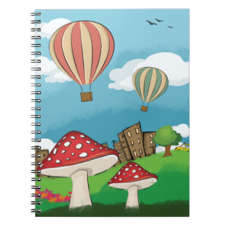 Painting of mushrooms in the park near the city spiral notebooks