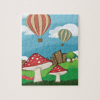 Painting of mushrooms in the park near the city jigsaw puzzles