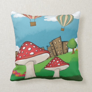 Painting of mushrooms in the park near the city throw pillows