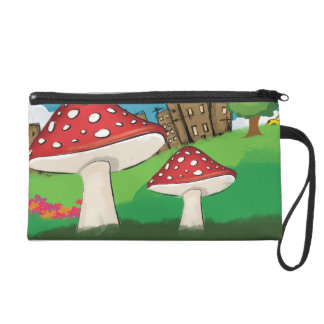 Painting of mushrooms in the park near the city wristlet clutches