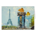 Painting Of Paris Eiffel Tower Scene Greeting Cards