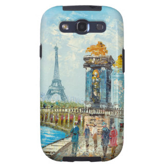 Painting Of Paris Eiffel Tower Scene Samsung Galaxy S3 Covers